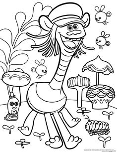 print trolls movie color troll coloring pages - Free Printable Coloring Page