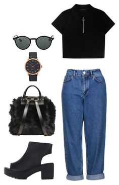 """""""vintage black"""" by ksasya on Polyvore featuring Giuseppe Zanotti, Topshop, Marc Jacobs, Ray-Ban, vintage, school, black and jeans"""