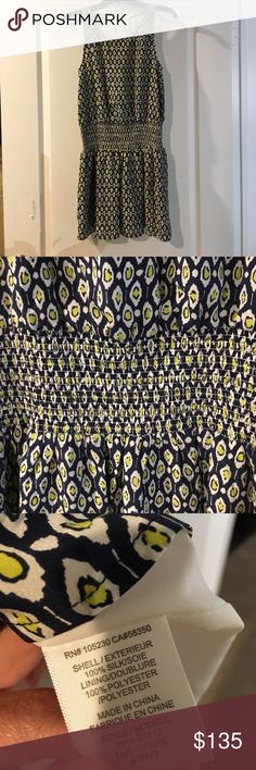 NWT Joie Silk Drop Waist Dress NWT Navy/ White / Yellow Joie 100% Silk Drop Waist Dress - The pictures don't do this dress justice - It's so beautiful- This is a re-posh. I bought it not knowing the brand and I needed one size bigger for the chest area since there's no stretch - Size XS Joie Dresses