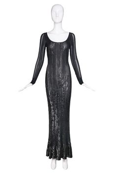 Alaia Slinky Black Floor-Length Beaded & Sequined Evening Gown Ca. Long Sleeve Evening Gowns, Evening Dresses, Formal Dresses, Ahs Hotel, Black Floor, Alaia, Black Sequins, Vintage Outfits, Clothes