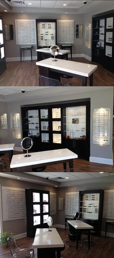 Beautiful finished dispensary in North Carolina. Featuring Albany displays with Elements wall displays. Fashion Optical Displays #DispensaryDesign #DesignerSeries http://www.fashionoptical.com/designer-series