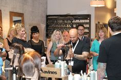 2012 World Style Contest Winner James Abu-Ulba leads the Davines North America Regional Artistic Team at new collection training in Red Bank, New Jersey, July 14, 2014.