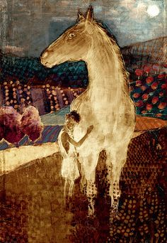 Artist Adrien Deggan. Horse and girl.