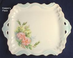 "Shabby Cottage Chic Pink Roses Opened Handled Porcelain Tray Marked Erma 9"" x 7"""