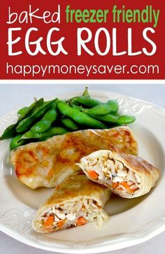 This baked egg roll recipe is freezer friendly and is great to have on hand for your hungry crew! Making your own baked egg rolls is healthy, easy and fun! http://happymoneysaver.com
