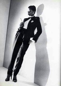 Mounia in Yves St Laurent's Le Smoking tuxedo c Smoking Tuxedo, Le Smoking, Vintage Ysl, Vintage Fashion, Dandy, Yves Saint Laurent, 20th Century Fashion, French Fashion Designers, Costume