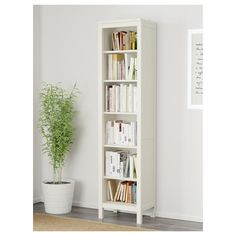 HEMNES Bookcase, white stain, 19 Sustainable beauty from sustainably-sourced solid pine, a natural and renewable material that gets more beautiful with each passing year. Combine with other products in the HEMNES series. Ikea Bookcase, Bookshelves, Bookcase White, Ikea Book Shelves, Bookcase Plans, Ikea Brusali, White Books, Glass Cabinet Doors, Glass Door