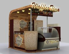 waffles selling kiosk Source by Kiosk Design, Cafe Design, Retail Design, Signage Design, Corporate Design, Design Design, Design Ideas, Stand Design, Booth Design