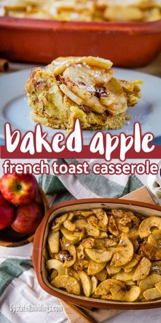 This baked apple French toast casserole is an easy to make breakfast casserole for holiday breakfast or brunch. Made with bread, Egg Beaters, milk & apples. Apfel French Toast, French Toast Bake, French Toast Casserole, Easy To Make Breakfast, Make Ahead Breakfast Casserole, Brunch Recipes, Breakfast Recipes, Breakfast Club, Thanksgiving Food Crafts