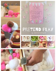 Pretend play is fun for kids and with this ice cream shop pretend play idea there are fun learning opportunities too! Ice Cream Parlour Role Play, Ice Cream Theme, Dramatic Play Area, Dramatic Play Centers, Fun Activities For Kids, Preschool Activities, Prop Box, School Treats, Messy Play