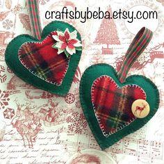 Christmas Ornaments / Xmas Plaid Ornaments / Hanging Hearts Xmas Ornaments / Set of 2 / Plaid Christmas Heart / Poinsettia - Reindeer Heart Fabric Christmas Ornaments, Felt Christmas Decorations, Felt Christmas Ornaments, Handmade Ornaments, Reindeer Christmas, Plaid Christmas, Ornaments Design, Wood Reindeer, Handmade Bookmarks