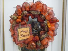 mesh wreaths | Fall / Thanksgiving Harvest Deco Poly Mesh Wreath by CraftsbyKG