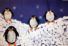 Kindergarten - Space - Winter Penguin Prints, sponge and potatoe prints. Borrowed from the fabulous http://www.thatartistwoman.org/
