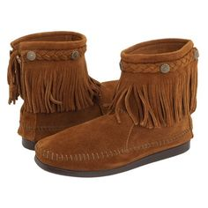 Minnetonka Suede Moccasin Fringe Booties Brown New in box, size 5 Minnetonka Shoes Ankle Boots & Booties