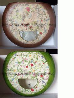 Porta sacos reciclados com decoupage e pintura metalizada