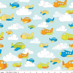 """Airplanessky, clouds Riley Blake """"On the Go"""" Fabric, cotton fabric by the half yard or  yard, nursery , Sewing, Supplies, quilt fabric"""