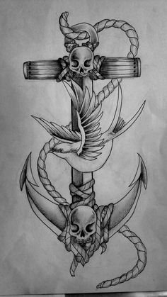 Anchor Bird and Skull Tattoo  Anchor Tattoos Girls