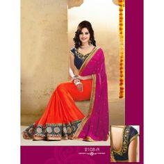 Designer Wine & Orange Color Party Wear Saree Designed By Being Fashion.