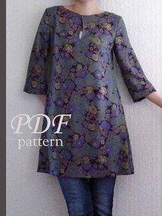 PDF sewing pattern-women-3/4 Sleeves Dress-Size:XS, S,M (3SW-W-D)
