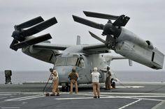 Un MV-22 Osprey sur un porte-hélicoptères japonais | Mer et Marine
