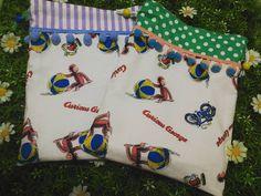 残り少ない #おさるのジョージ  生地で巾着♡♡ 甥っ子とうちの三男の分♡♡ 2017.3.2 ☆ #ハンドメイド #裁縫  #保育園準備 #入園 #入園グッズ #handmade #jolisfils