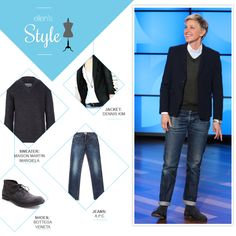 Ellen's Look of the Day: button up, sweater, black blazer, jeans and boots