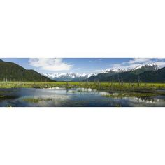 Turnagain Arm with Chugach Mountains in the backgrounds Southcentral Alaska Alaska USA Canvas Art - Panoramic Images (36 x 12)