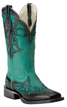 Ariat Women's Cassidy Supple Turquoise with Glazed Midnight Overlay Square Toe Western Boot | Cavender's
