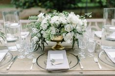 White rose and greenery centerpiece - classic wedding centerpiece idea - Find a wedding planner in your city on WeddingWire! {Ooh! Events} Greenery Centerpiece, Wedding Centerpieces, Wedding Themes, Wedding Styles, Common Adjectives, Green Theme, White Flowers, White Roses, Describe Yourself