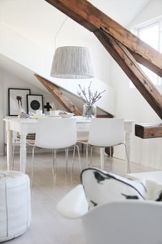 wood beams in all white interiors