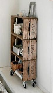 fruit crate shelves on wheels