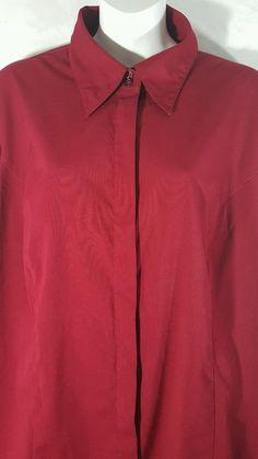 c9fa01bda Lane Bryant Womens Plus Size 14/16 Red Long Sleeve Stretch Blouse Shirt Top  | eBay