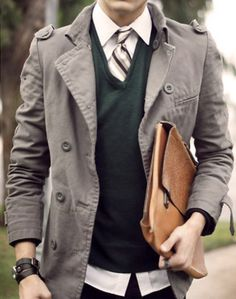 Yep. THAT's the look!! Love the color of the sweater (teal?) + cool cut of the jacket. The tie but untucked collar is great too.