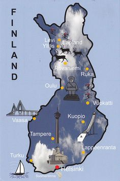 Suomi Finland (by MsMoney). This is my country. I´ve been to most of the places mentioned here. On this map you can see where our capital Helsinki is situated. <<< Lappeenranta is like my other home. Its cool place Helsinki, Finnish Language, Finland Travel, Lapland Finland, Voyage Europe, Thinking Day, European History, Travel Posters, Norway