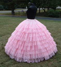 Constructing a tiered petticoat- But what would I do with a dress like that?  Be like a sheep walking on its hind legs.