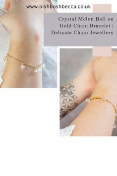 A beautifully simple yet unique chain bracelet, handmade with carved crystal ball beads that shimmer when they catch the light. Perfect for everyday or a special occasion such as a wedding, birthday or Christmas#jewellery #bracelet #chain #gold #crystal #women #thin #simple #gift #forher #ideas #christmas #wedding #bride #bridesmaids #birthday