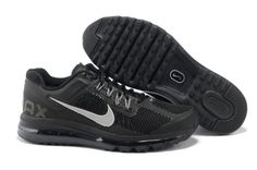 best sneakers ed43d b919a Brand New Nike Air Max 2013 Men Black Silver Running Shoes