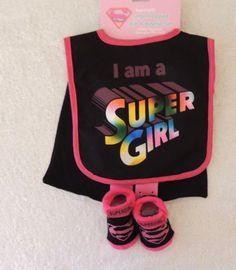 NEW Baby Girl I am a Supergirl Bib WITH CAPE Socks DC Comics Superman Girl Power