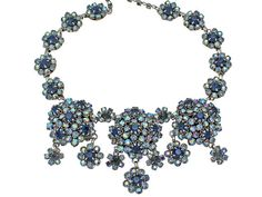 Vintage Rhinestone Necklace, Domed, Prong Set Blue Rhinestones with Flower Dangles, Bridal Jewelry