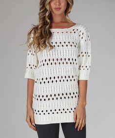 Look what I found on #zulily! White Three-Quarter Sleeve Sweater by Pinkblush #zulilyfinds