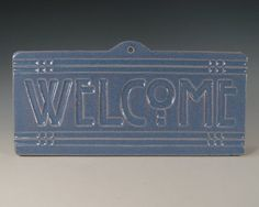 Welcome Tile  Arts & Crafts Mission Style  Blue by SeizPottery, $28.00