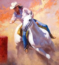 Love to have something like this above my fireplace! photos of cowgirl barrel racing paintings | Churning Dust - barrel racer