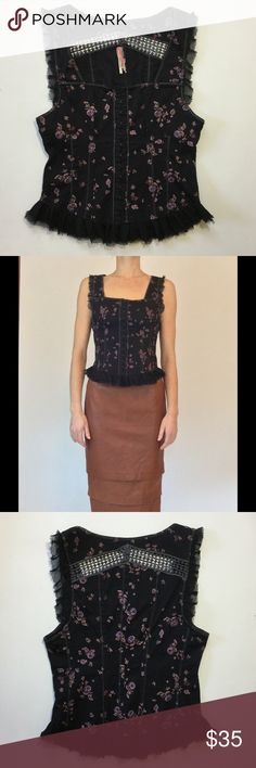 Free People floral corset bustier top Naughty or nice floral corset top by FREE PEOPLE. Pretty frayed chiffon hem... embroidered back detail, boning on front and back. EUC. Has only been professionally dry cleaned. Free People Tops