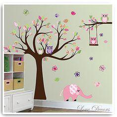 Owl Wall Stickers Animal Flower Tree Butterfly Decor Mural Decal Nursery Room