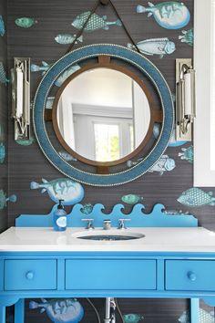 Add a Splash of Color to Your Bathroom With Wallpaper Sea-Worthy Bathroom Wallpaper countryliving Fish Bathroom, Lake House Bathroom, Small Bathroom, Bathroom Ideas, Washroom, Modern Bathroom, Master Bathroom, Beach Cottage Style, Coastal Style