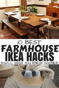 Farmhouse Ikea hacks that will give your home a cozy farmhouse style that looks way more expensive than it actually is! I don't know about you but I just cannot get enough of Ikea & Ikea hacks… if you love. Farmhouse Style Kitchen, Farmhouse Kitchen Decor, Farmhouse Garden, Coastal Farmhouse, Farmhouse Interior, Ikea Kitchen, Modern Farmhouse, Hobby Lobby, Design Your Own Home