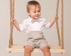 Baby boy linen suit Ring bearer outfit Rustic wedding boy outfit Wedding party boy suit Baptism boy shirt shorts bow tie Christening outfit