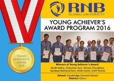 Mudit Sethia Chanchan Soni Shivani Choudhary Sandeep Balchand Soni Ishita Lahoti Ankit Poonia are the Winners of Young Achievers Award 2016 of Cambridge Convent School from Churu  #RNBGU #Bikaner #winners