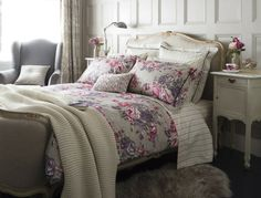 Christy Bloomsbury Plums and Bloomsbury Stripe tailored feel bed linen with luxury velvet trim