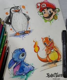 Wanted and wanted to learn more about Led & # s tattoo? Visit our website or contact us at 5561 2351 (Moema unit), 5093 6686 (Jardins unit) or 5093 6686 (Campinas unit). Cute Disney Drawings, Cool Art Drawings, Art Drawings Sketches, Desenho New School, Pokemon Tattoo, Charmander Tattoo, Mario Tattoo, Graffiti Lettering, Disney Tattoos